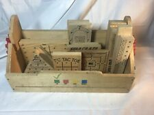 Lot of 17 Vintage Wood Golf Tee Peg / Dice Brain Teaser Games Puzzles + Wood Box