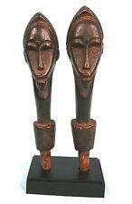 Art Africain - Ancienne Paire de Manches de Chasse Mouche Baoulé - Avec Socle