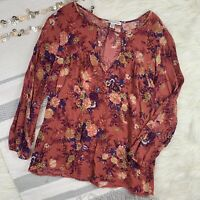 American Eagle Burnt Orange Floral Boho Blouse Womens Size Small