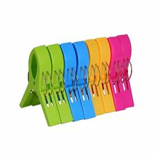 Ecrocy 8 Pack Beach Towel Clips in Bright Colors - Jumbo Size- Keep Your Towe...