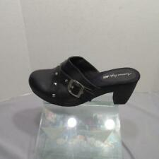 American Eagle Black Clogs Studded with Buckle Accent Black Slip on Heels 11