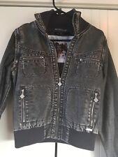 a848310a22cad Womens Billabong Designer Closet Black Wash Removable Sleeves Bomber Jacket  Sz 8