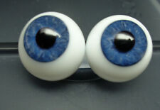 One Pair Blue Glass Doll Eyes for Bjd and Other Dolls, 16 mm