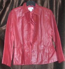Womens ladies Bagatelle Burgundy size small real leather 5 button jacket coat