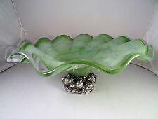"Vintage Italian CRISTALLI D'OGGI Sea Green Swirls Bowl w/Silver Fruit Base 13"""