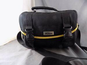 Genuine OEM Nikon Camera Shoulder Bag Nylon With Yellow Trim Excellent Condition
