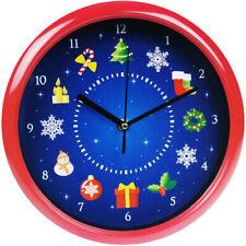 Musical Christmas Wall Clock 23cm Plays 12 Xmas Songs & Festive Music on/off