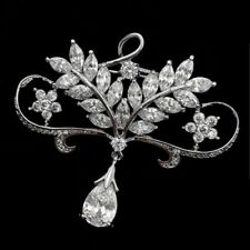 Edwardian Vintage Micro Pave CZ Open Foliate Wheat Floral Bow Drop Brooch Silver