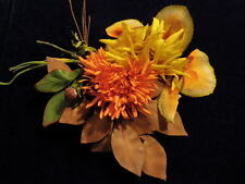 """Vintage Millinery Flower Shabby Collection Yellow Orange Brown 4"""" For Hat H1086"""
