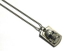 """Men's Stainless Steel Gothic Skull Pendant with 24"""" Ball Chain Necklace Inox"""