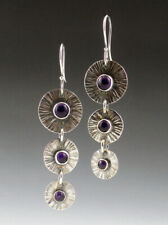 Fashion 925 Silver Round Purple Moonstone Long Ear Hook Dangle Wedding Earrings