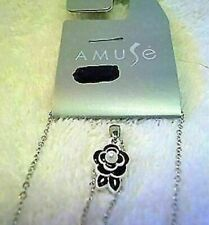 💎 NWT AMUSE Silver Tone Necklace with Black/White 🌺 flower: FREE SHIPPING