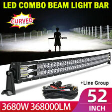 "3680W 52"" LED Light Bar Curved Flood Spot Combo Truck Roof Driving 4WD Offroad"