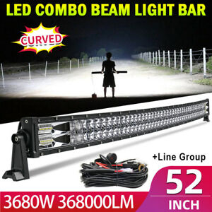 """3680W 52"""" LED Light Bar Curved Flood Spot Combo Truck Roof Driving 4WD Offroad"""
