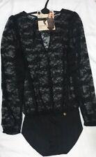M&S Rosie For Autograph French Lace & Silk Trims BLACK Lace Blouse Body Suit 16