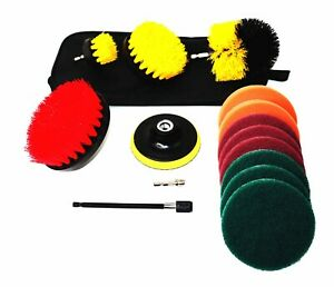 3 Piece Drill Brush Set + 11 Piece Drill Brush Attachment + Carry Bag SHIPS FREE