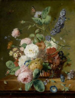 """oil painting handpainted on canvas """"Floral Still-life with Small Insects """""""