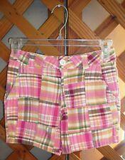 AUTHENTIC J. KHAKI SHORTS~Pink Plaid Patchwork~Pockets~Adjustable Waist~Girls 10