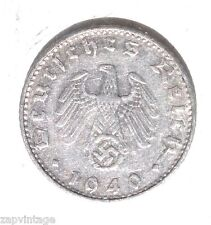 Vintag 1940 NAZI SWASTIKA 50 RM Coin-WW2 german 3rd-REICH GERMANY ALUMINUM