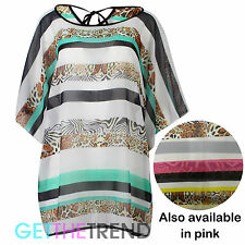 Womens New Oversized Beach Kaftan Ladies Leopard Stripe Batwing Tunic Top