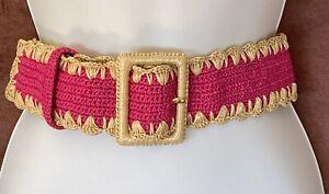Stunning Dolce and Gabbana Pink Raffia & Leather Belt 'Capri' RRP US $820