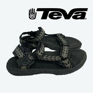 Teva Mens Size 11 Sport Sandals Black Geometric Hiking Water Shoes Adjustable