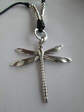 Lagenlook Long Large Dragonfly Necklace antique silver colour