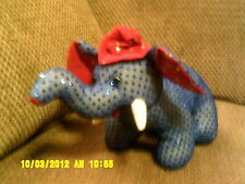 "Beautiful 15"" Fiesta God Bless USA Blue Plush ELEPHANT w/ Red Hat/ Ears & Gold"