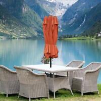15ft Market Outdoor Umbrella Double-Sided Aluminum Table Patio Umbrella+Crank