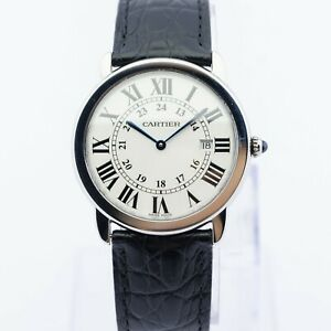 Cartier Ronde Sole Quartz Watch Mens 36mm with Leather Strap RRP £2950