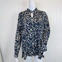 Susan Graver Top Size Large Animal Print Gray Liquid Knit Top Keyhole A372448