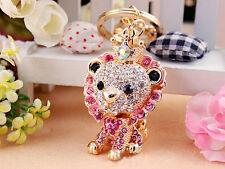 KC025 Animal Lion King Cute Rhinestone Crystal Charm Pendant Key Bag Chain Gift