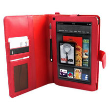 Fits Kindle Fire - E-Stand Red PU Leather Case w/Dual Internal Compartments