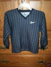 REEBOK  Boy's Navy Blue & White Pin Stripe LS V-Neck Shirt Sport S
