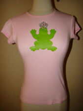 MY FLAT IN LONDON PINK GREEN FROG CROWN BLING PRINCE CHARMING BLOUSE TOP SIZE S