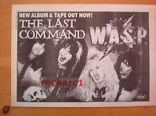 WASP Inside The Last Command 1985 UK Poster size Press ADVERT 16x12""
