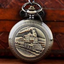 Antique Fob Chain Windup Vintage Steampunk Bronze Mechanical Pocket Watch Train