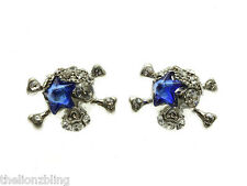 Urban Punk Silver Pirate Skull Earrings with Blue Crystal Bling Eye Patch
