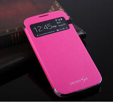 Pink S-View Smart Battery Flip PU Leather Cover Case For Samsung Galaxy S4 i9500