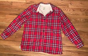 LL Bean Fleece Lined Flannel Men's L Red Plaid Shirt