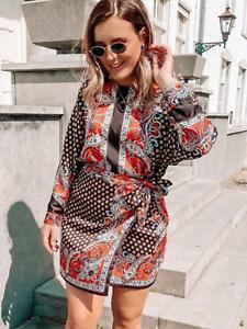 BNWT Zara Black Paisley Satin Handkerchief asymmetric  Mini Dress Bloggers XS