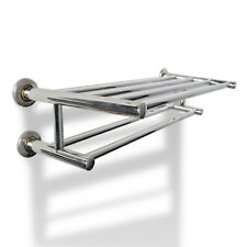 Double Towel Rail Holder Wall Mounted 6 Tubes Stainless Steel Bathroom Rack