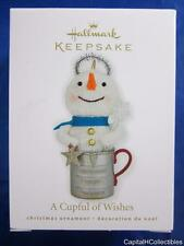 2010 Hallmark Keepsake Christmas Ornament A Cupful of Wishes Snowman Fabric NIB