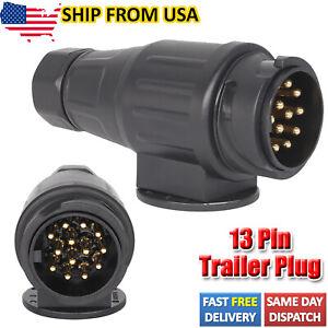 12V 13 Pin Trailer Plug Wiring Connector Caravans Socket Trailer Accessories US