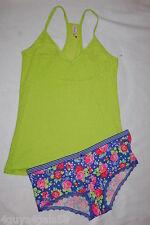 2bee08f4505 JR Womens CAMI TANK   PANTY SET Racerback LIME GREEN PURPLE Floral SIZE L  11-