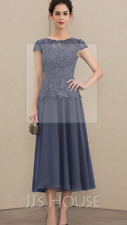 A-Line Tea-Length Chiffon Lace Mother of the Bride Dress(Stormy-Size 10)Tag £120