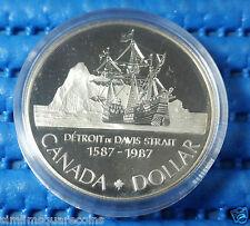 1987 Canada Dollar Detroit De Davis Strait Silver Proof Coin (1587-1987)