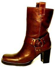 MIA brown LEATHER mid-calf HARNESS boots motorcycle BRASS hardware 6.5M gorgeous