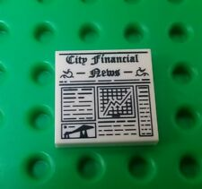 *NEW* Lego 2x2 Financial News Newspaper Tile Printed Plate x 1 piece