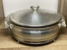 Mid century modern aluminum COVERED CASSEROLE Dish With Pyrex bowl